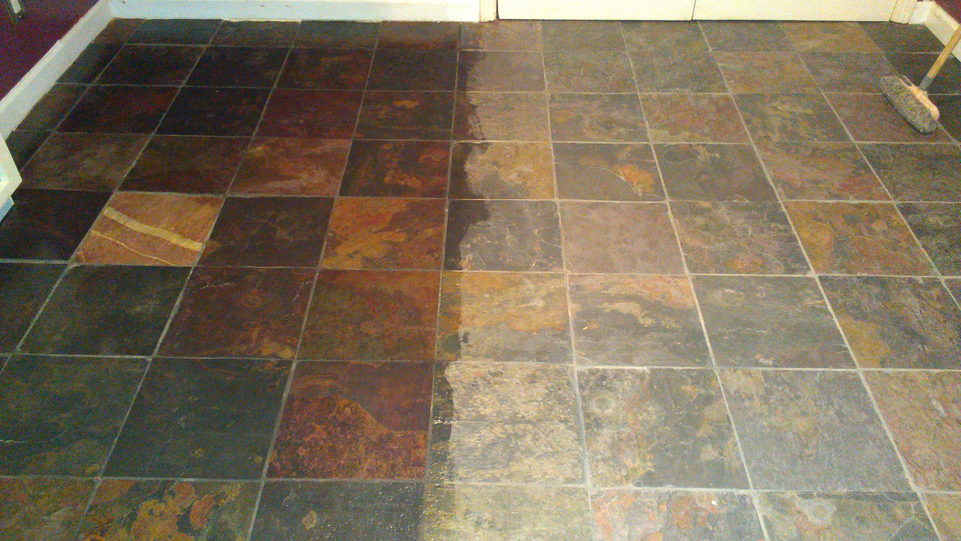 Slate Tile Treated With Enhancer Sealer