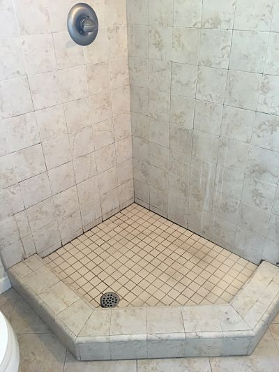 These Pictures Show The Tiled Shower Pan, Before And After Cleaning. I Use  A Heavy Duty Alkali Cleaner Which Cuts Through The Soap Scum On The Walls.